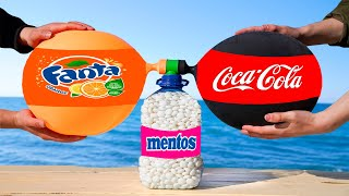 Experiment: the Balloon of Coca Cola & Fanta VS a Bottle of Mentos.