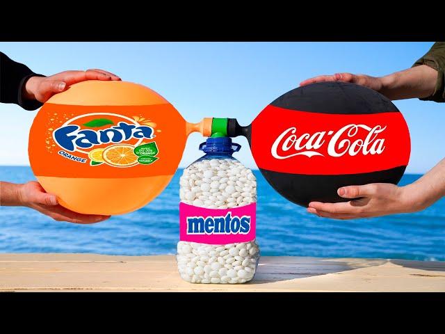 Experiment: the Balloon of Coca Cola & Fanta VS a Bottle of Mentos.