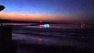 Custom Pontoon Boat with LED Lights