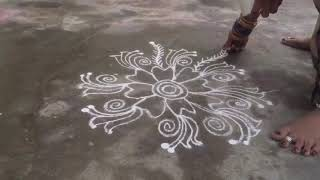 Easy muggulu, daily rangoli, simple muggulu, Telugu muggulu, rangavalli, easy rangoli,