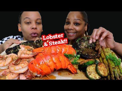 Seafood Boil Lobster Mukbang ( Surf & Turf )