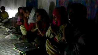 Children in a Nightschool in Rajasthan, India, sing a song at class start