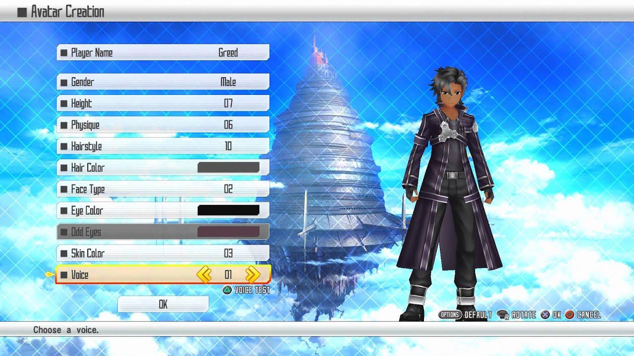 Sword Art Online Re Hollow Fragment Character Creation