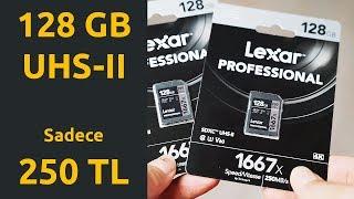 Ucuz 128GB UHS-II SD Card 250/100 MB/s