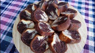 Sünger Gibi Yumuşacık İki Renkli Kek | Bu kekin lezzetine bayılacaksınız