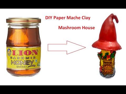 DIY Paper Mache clay  Mashroom House CUM JAR