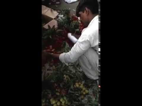Litchi coloring India, Fresh green turned RED