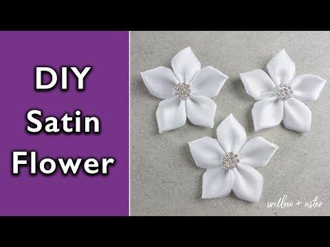 How to make a Satin Ribbon Petal Flower | DIY handmade satin ribbon flowers