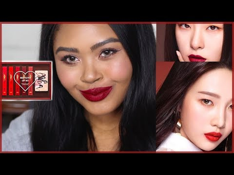 WHAT'S GOOD?! Etude House Matte Chic Laquer Red Velvet Love Kit SWATCHES & REVIEW | KennieJD