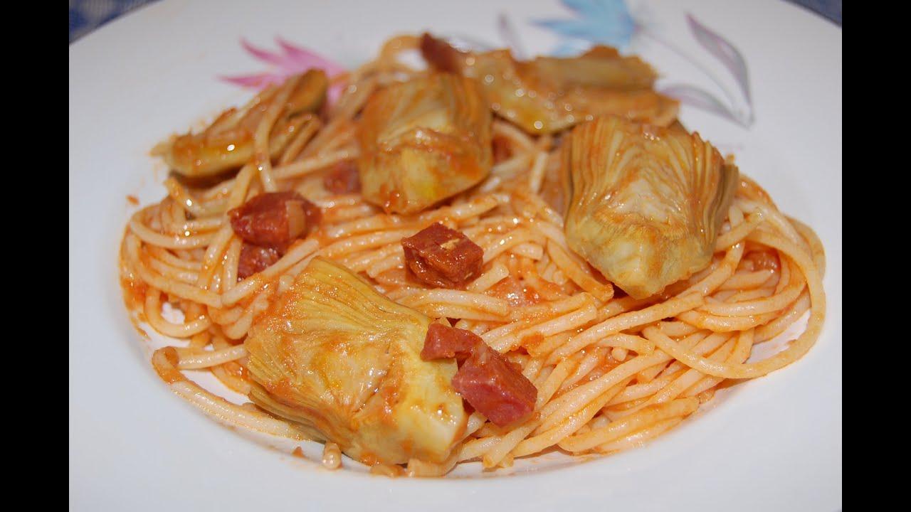 Spaguettis con alcachofas, al estilo de Mariaje