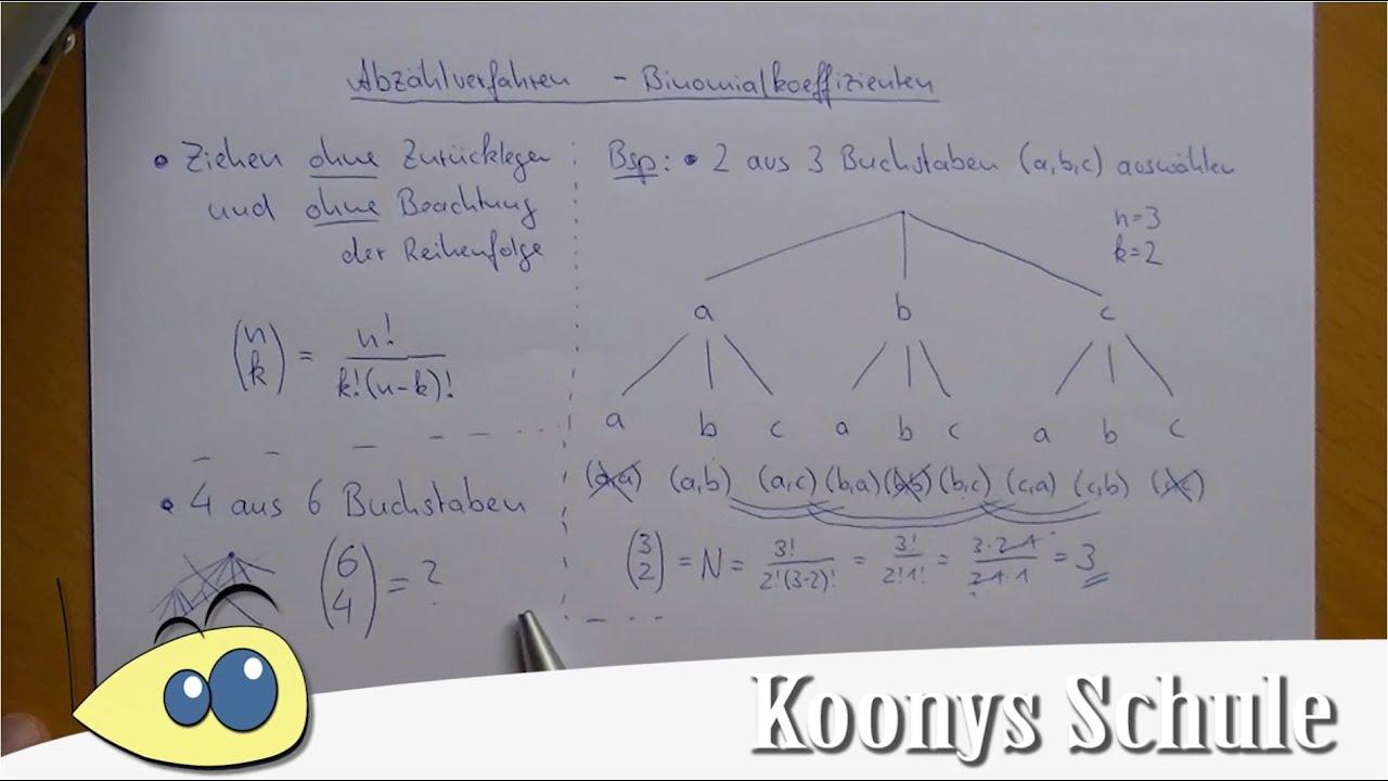 Binomialkoeffizient, n über k, ohne Zurücklegen, ohne Reihenfolge ...