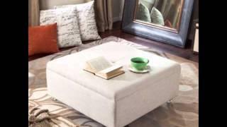 Corbett Linen Coffee Table Storage Ottoman; Square Ottoman Coffee Table, Square Storage Ottoman