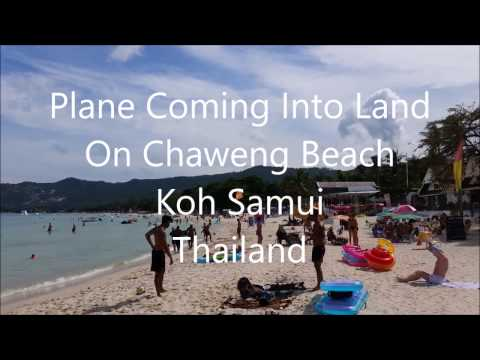 Plane Landing Over Chaweng Beach To Koh Samui Airport