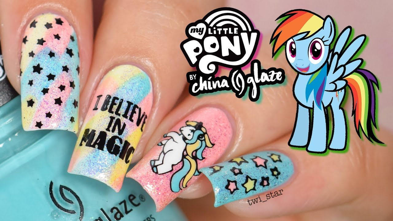 Diy My Little Pony X China Glaze Unicorn Nail Art Youtube