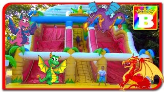 Inflatable playground of the village of BIG DRAGONS fun for children with Princess SOFI on Bogdan's