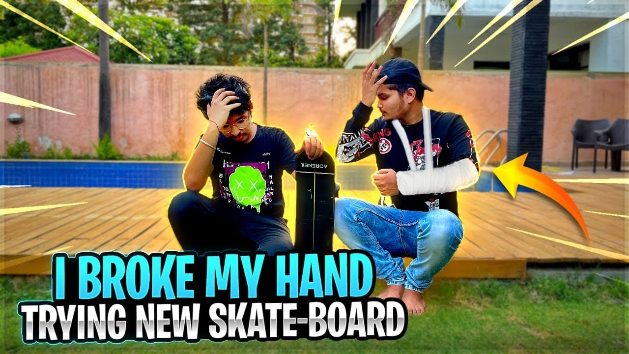 Ritik Broke His Hand Trying New Skate Board In Bootcamp-😭 Two Side Gamers Vlog #50