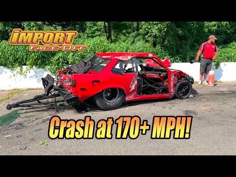 He walked away from THIS?  Import DPS drag race crash @ 170+ mph!  Import Face-Off West Lebanon, NY!