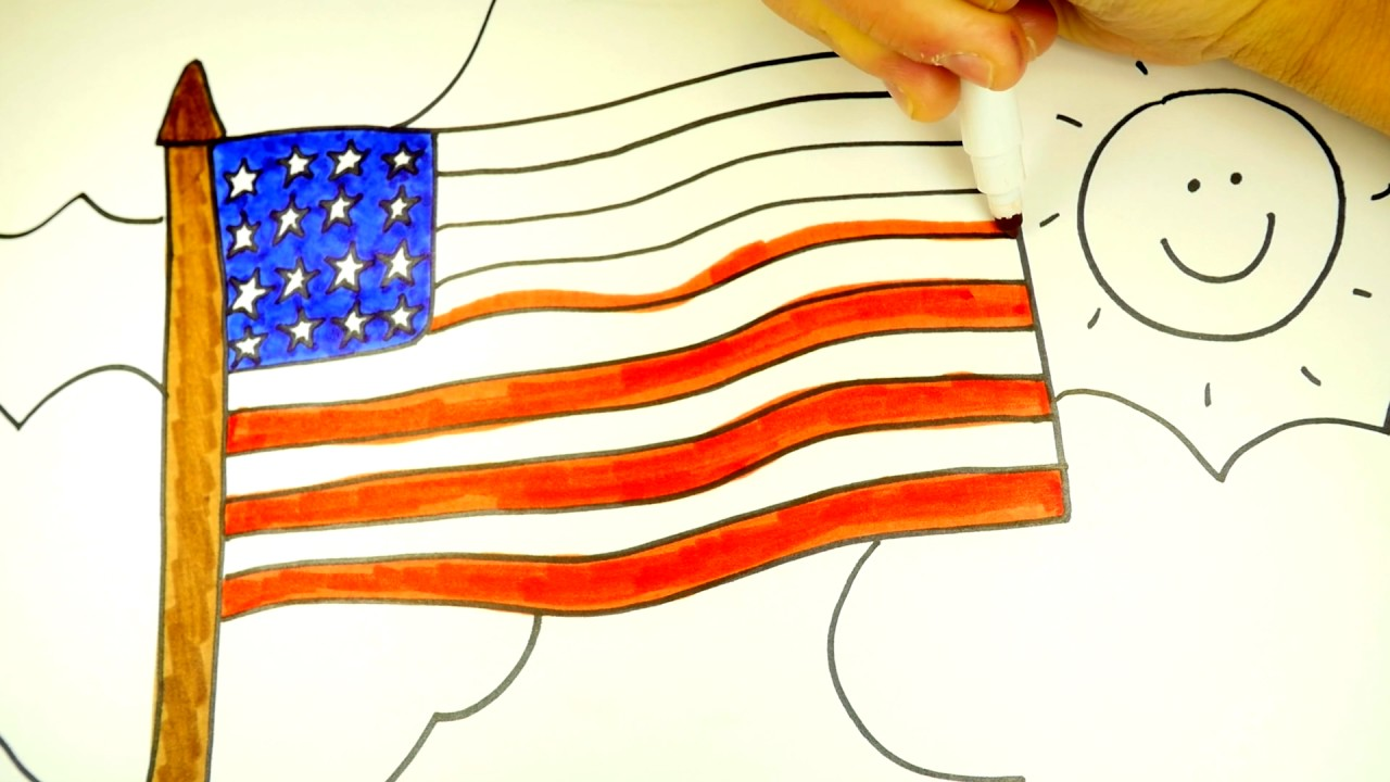How To Draw The American Flag (Patriotic Coloring Page For Kids ...