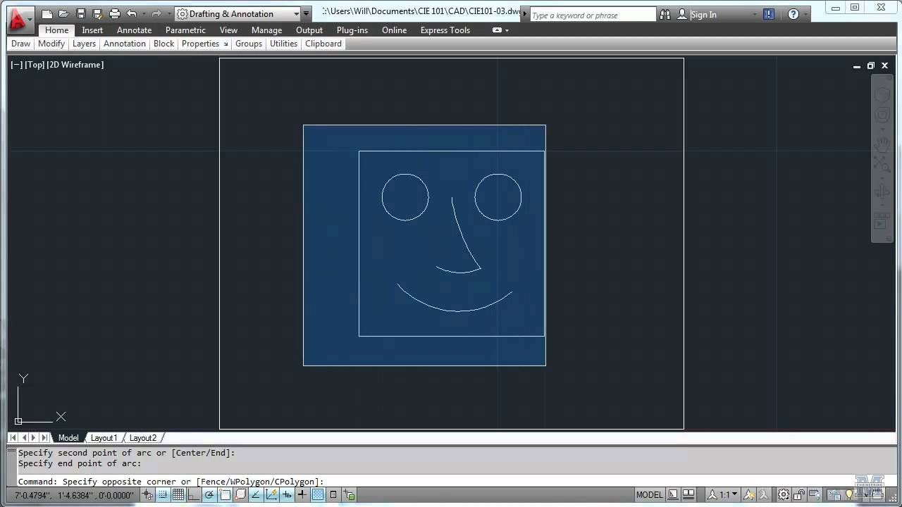 autocad 03 a very basic drawing cie 101 civil engineering
