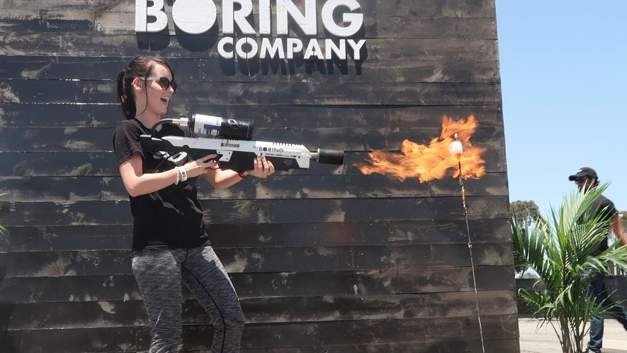 picking up my not a flamethrower from the boring company. Black Bedroom Furniture Sets. Home Design Ideas