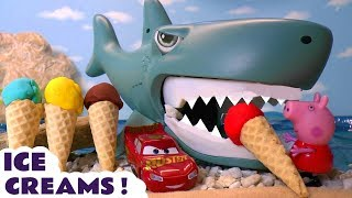 Play Doh Ice Creams - Explore Colors with Cars McQueen a Shark Peppa Pig Paw Patrol and Thomas TT4U