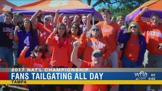 Football fans arrive early for College National Championship