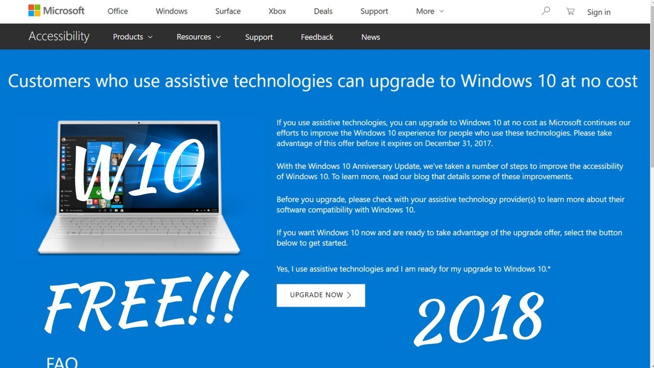 can you still upgrade to windows 10 for free 2018