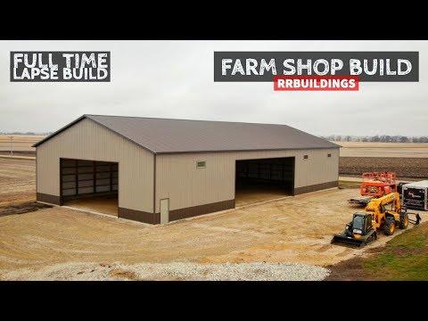 LARGE Farm Shop Full Time-Lapse Construction: BONUS TRUSS FLY THRU