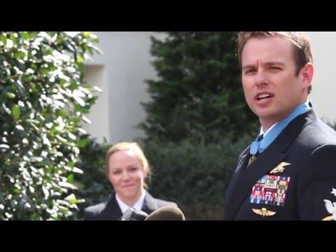 Navy SEAL speaks after receiving the Medal of Honor