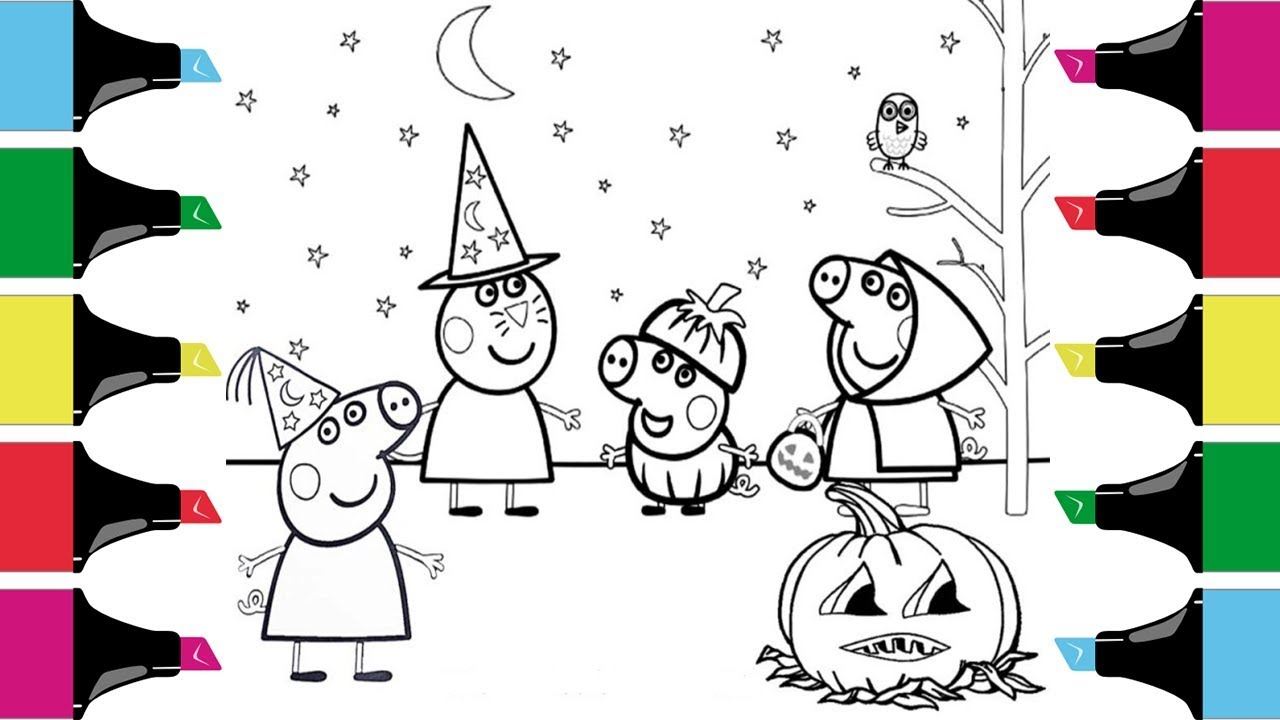 Coloring Peppa Pig& Friends Halloween Costumes Coloring ...