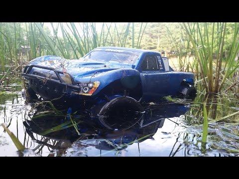 RC Truck Hydroplaning Accident! Traxxas Slash 4x4 Goes Mudding!