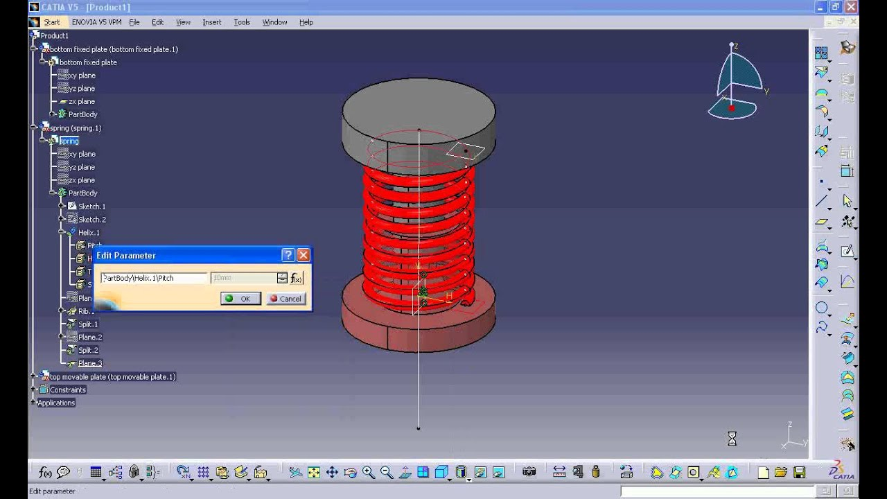 simulation video and tutorials of a compression spring in catia v5 youtube. Black Bedroom Furniture Sets. Home Design Ideas