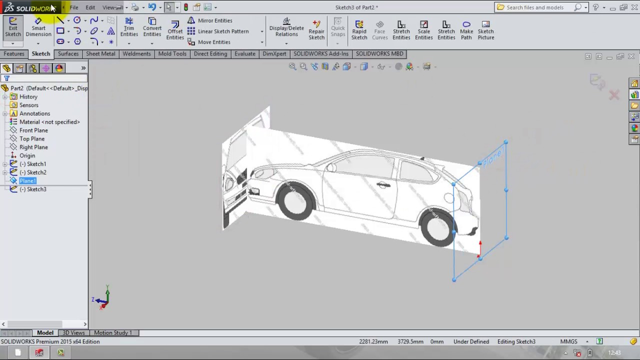 car body modelling in solidworks - part 1 (setting up the blueprints)