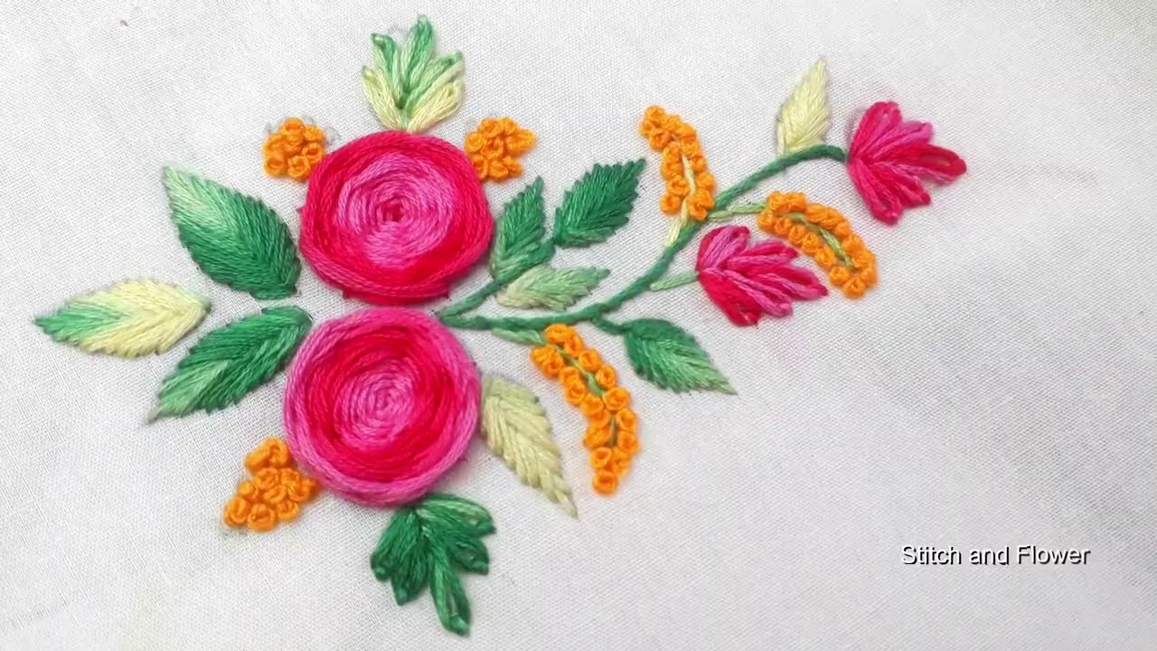 Hand embroidery rose flower design