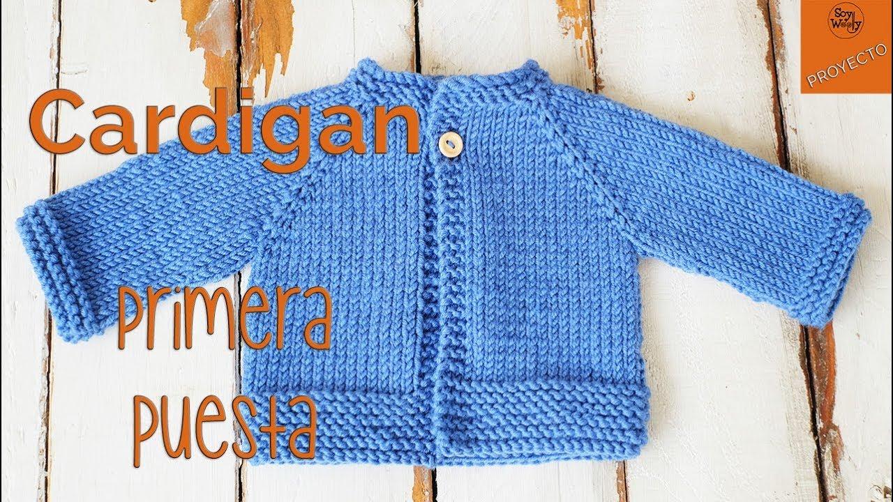 647d22e8b Cardigan Raglan Primera Puesta dos agujas - Parte 1 - YouTube