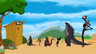 Godzilla, Siren Head, Cartoon Cat: Eat Wild Mushrooms - With Battle In WC