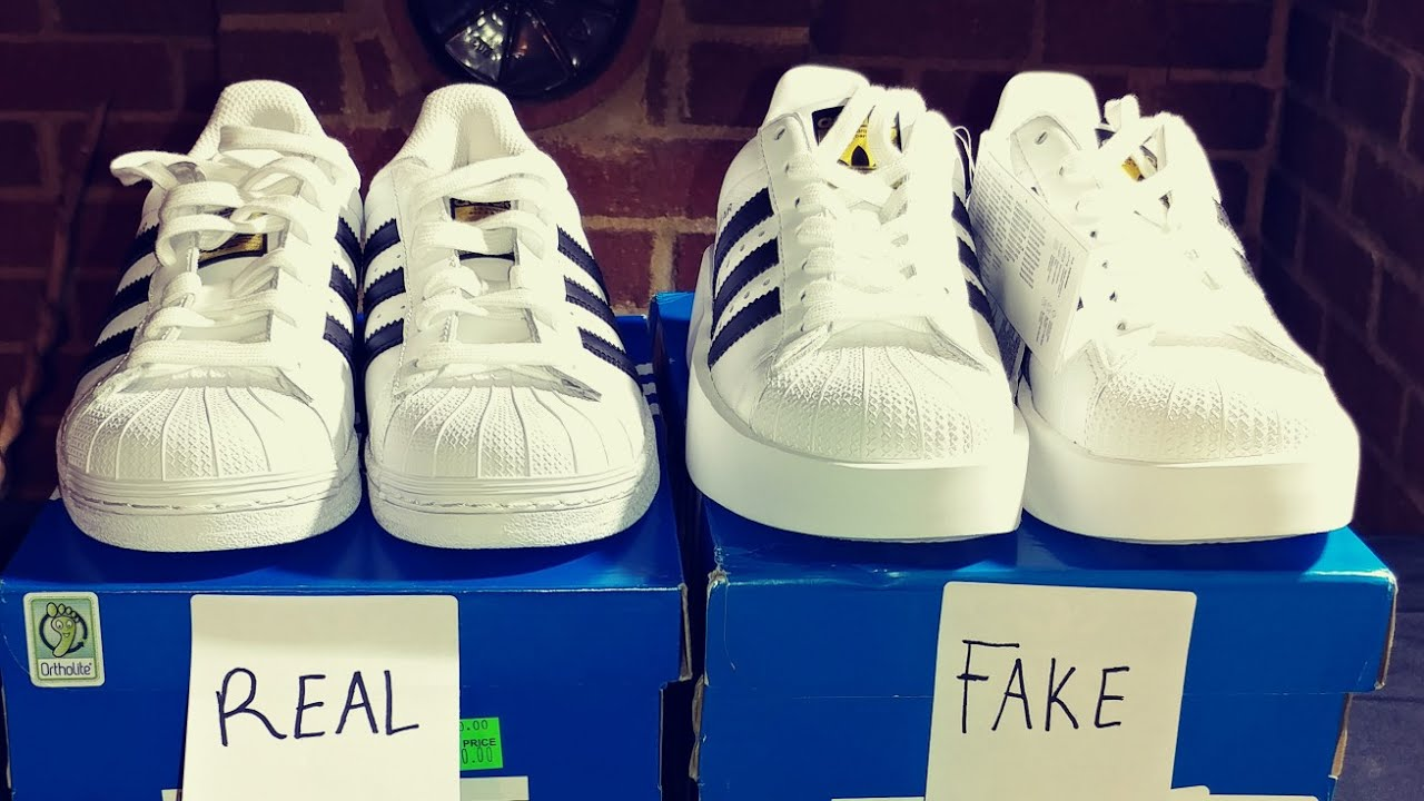 03d1db353e REAL VS. FAKE ADIDAS SUPERSTAR SHOES! - YouTube