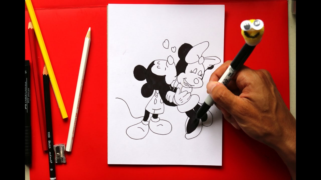 how to draw minnie mouse and mickey mouse kissing - YouTube