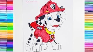 How to Draw & Color Marshall from Paw Patrol - Art Tutorial for Kids