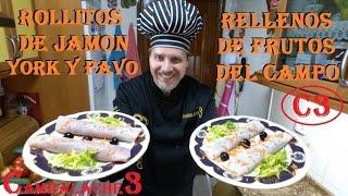 ROLLITOS DE JAMON Y PAVO RELLENOS (RIQUISIMOS)