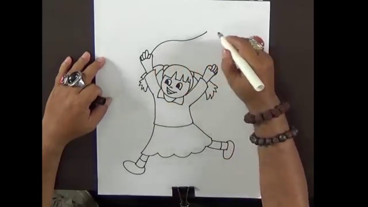 how to draw cute little girl simple drawing for kids with mr mj - Drawing For Little Kids