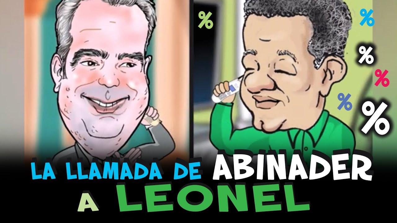 Abinader llamando a Leonel, el hombre de los porcentajes. #cristiancaricaturas