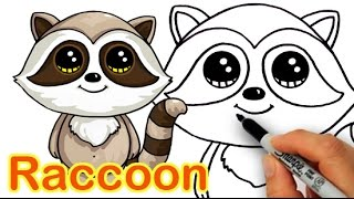 How to Draw a Cartoon Raccoon Cute and Easy step by step