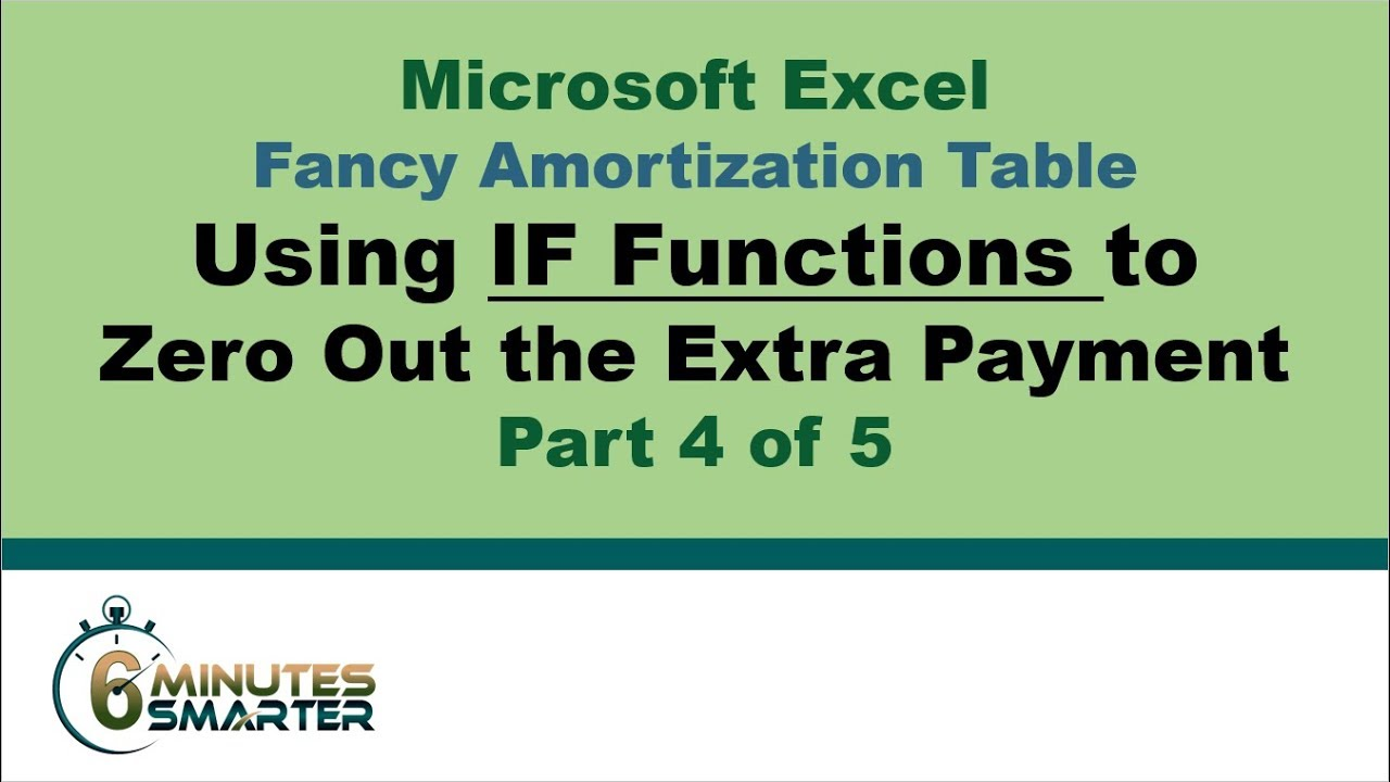 amortization table in excel part 4 of 5 if and min functions for