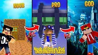 Minecraft NOOB vs PRO vs GOD - UNDERWATER BASE CHALLENGE!!