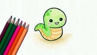 snake drawing kid draw easy simple cartoon drawings clipartmag paintingvalley