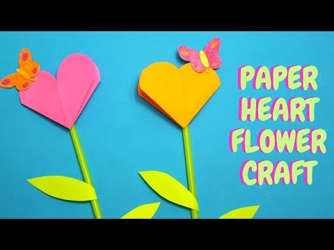 Paper Heart Flower Craft   Mothers Day Craft for Kids