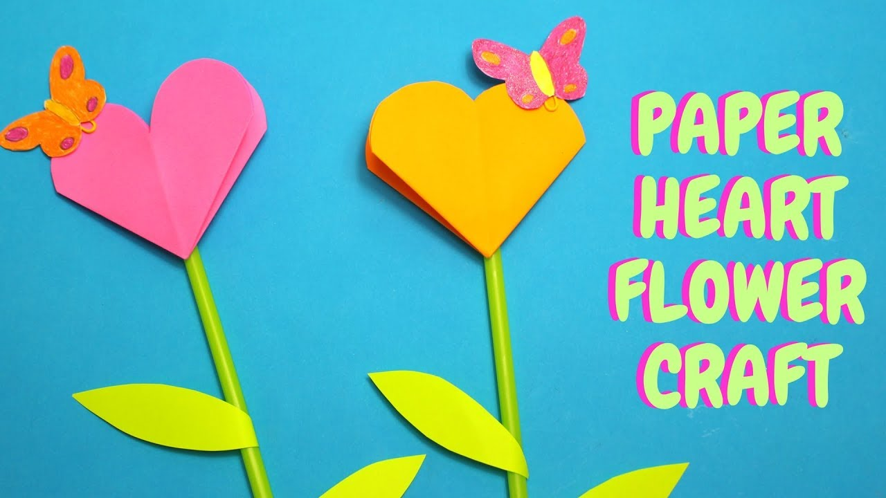 Paper Heart Flower Craft Mothers Day Craft For Kids Youtube