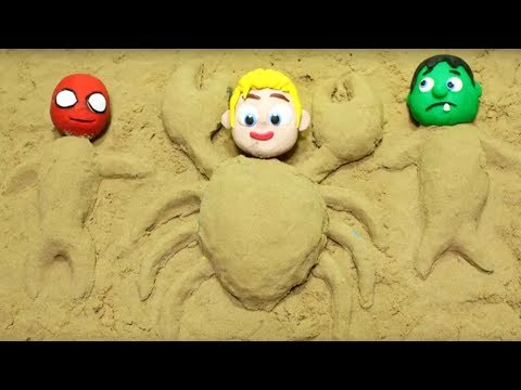 Superhero Babies playing sand beach Stop Motion video for children