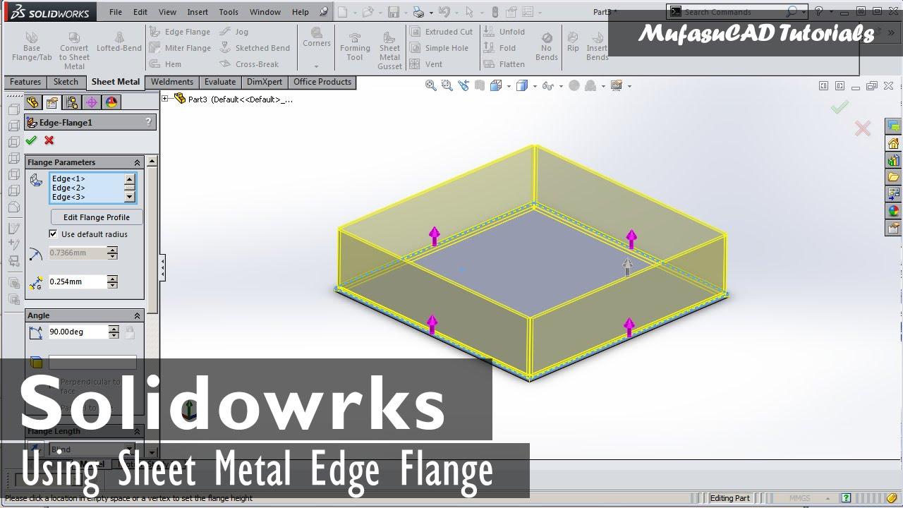 Solidworks Edge Flange Tutorial Basic Sheet Metal Youtube